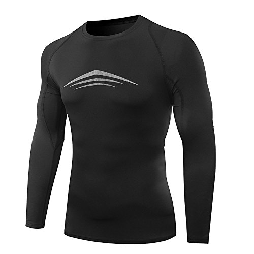 AMZSPORT Winter Sport Breathable Thermal Compression Top by Long Sleeve Base Layer Shirt With Brushed Inner Size S