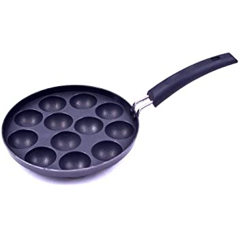 Tosaa Non-Stick 12 Cavity Appam Patra with Handle, 21cm, Grey