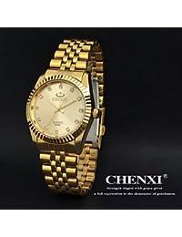 Chenxi - Reloj dorado de pulsera para hombre de acero inoxidable y cuarzo, dorado, talla única