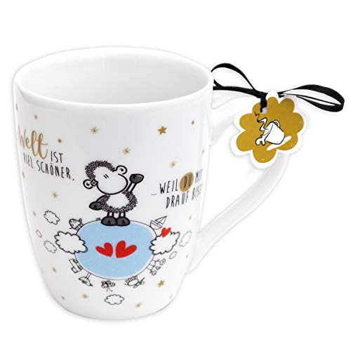 Sheepworld 59603 Lieblingstasse, Die Welt ist viel schöner, Tee, Geschenk-Anhänger, 30 cl Tasse, Porzellan