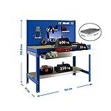 Banco de trabajo BT2 con cajón Simonwork Azul/Madera Simonrack 1445x1510x610 mms - Banco de trabajo con panel - mesa de bricolaje 600 Kgs de capacidad por estante