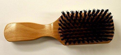 Brosse en poils de sanglier Club avec poignée en bois pour un Toilettage général quotidien (Coque rigide Noir Poils sur un joli Club Poignée en bois)