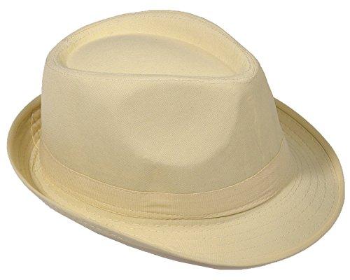 Strohhut Panama Fedora Trilby Gangster Hut Sonnenhut mit Stoffband Farbe:-Beige Gr:-54 (Herren Fedora-hut Beige)