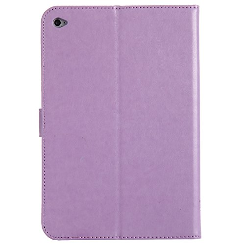 Custodia iPad Mini 4, iPad Mini 4 Flip Case Leather, SainCat Custodia in Pelle Cover per iPad Mini 4, Anti-Scratch Book Style Protettiva Caso PU Leather Flip Portafoglio Custodia Libro Protettiva Cust Luce Viola