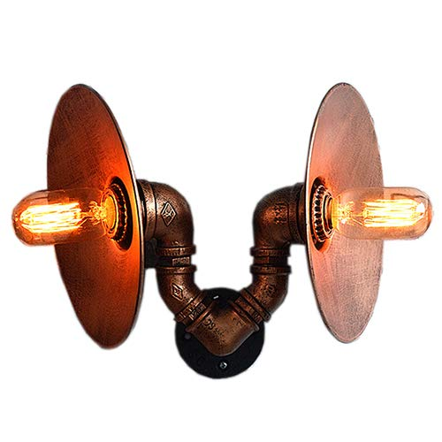 Csdm.ai lampade da parete del tubo di acqua, industriale retro applique da parete in ferro battuto metallo bar ristorante decorazione doppia testa paralume casa decorazione