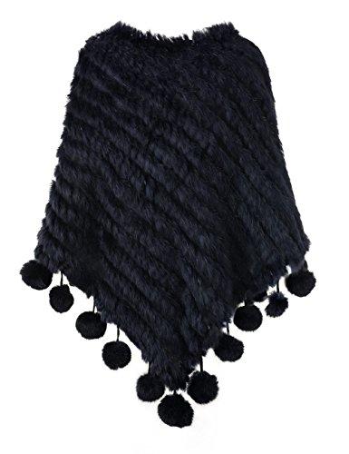 Ferand Kaninchenfell Gestrickter Poncho Damen mit Fransen, eleganter Echt Pelz Cape Warm für Winter Navy blau(mit Pompons)