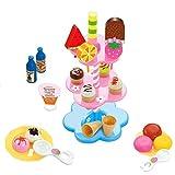 MagiDeal 22pcs Présentoir Desserts Crème Glacée Colorés Stand Kits Jouet Semblant Jeu de Rôle-play Enfants