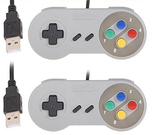 YUMQUA USB SNES Controller USB Gamepad Controller Joystick Wired SNES Joypad mit Kabel für PC Windows Mac Raspberry Pi [2 Stücke] (Pc Snes Controler Für)