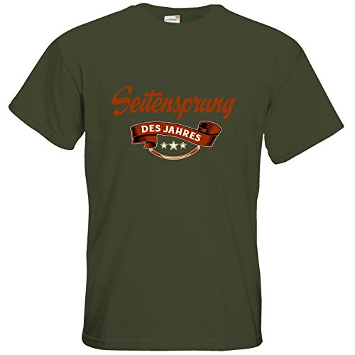 getshirts - RAHMENLOS® Geschenke - T-Shirt - Seitensprung des Jahres - khaki XXL