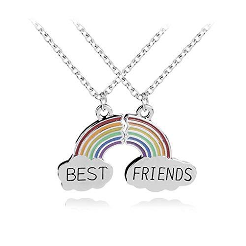 Nowear 2 Stück/Set bunter Regenbogen-Beste-Freunde-Puzzle-Anhänger-Halskette Gute Freundschaft Schmuck Gliederkette