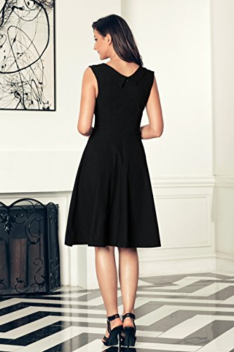 Aixy Frauen Cut Out V-Ausschnitt Vintage Casual Retro Kleid Schwarz