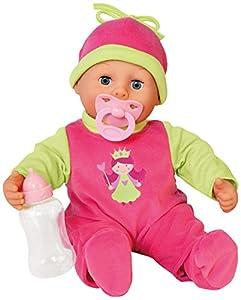 Bayer Design - 93806AA - Muñeca bebé primeras Palabras (24 Sonidos, 38 cm) - muñeca con un biberón y un Chupete, Color Rosa/Verde