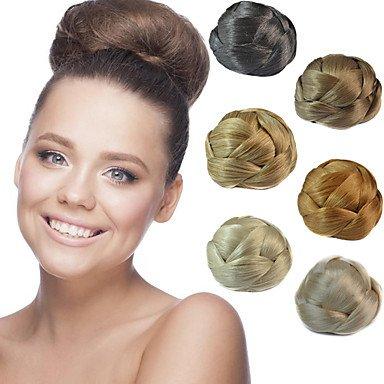 Gzhuang da sposa updo chignon chignon clips trecce sintetico extension per capelli lisci multi-colori