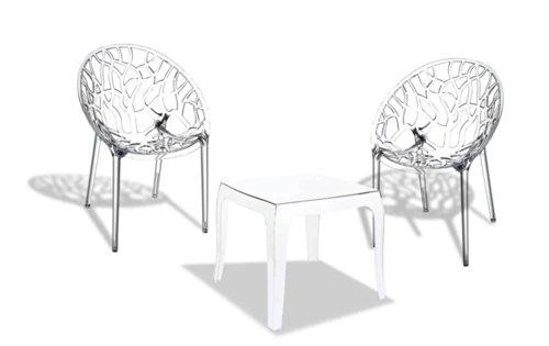 CLP Outdoor-Sitzgruppe ARENDAL   2 stapelbare Stühle und 1 stapelbarer Tisch   Gartenmöbel aus pflegeleichtem Kunststoff erhältlich transparent - Stapelbarer Outdoor-stuhl