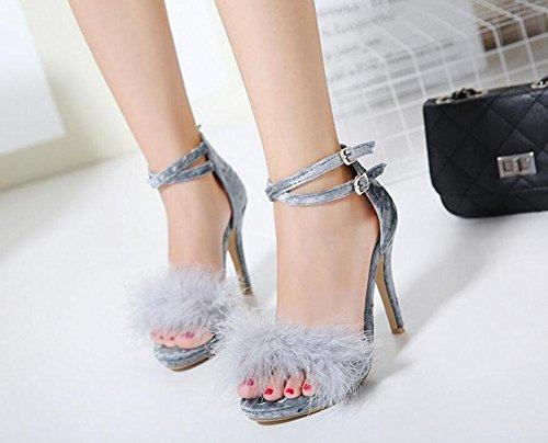 GLTER Pompes à sangle de cheville pour femme Sandales à talons hauts en peluche Chaussures à talon ouvert à cône noir Gris rose Grey