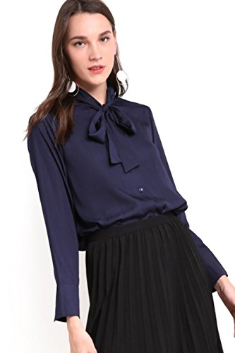 Dark Blue Front Tie Formal Office Party Shirt Blouse (X-Large)