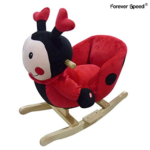 Forever Speed Schaukelpferd Plüsch Schaukeltier Baby Schaukelspielzeug Geschenk für Kinder Marienkäfer Sound