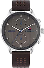Tommy Hilfiger 1791579 Mens Quartz Watch, Analog Display and Leather Strap, Brown