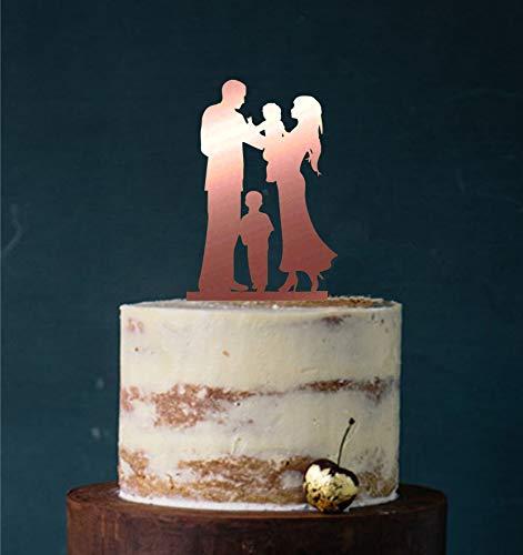 Manschin Laserdesign Cake Topper, Tortenstecker, Tortenfigur Acryl, Tortenständer Etagere Hochzeit Hochzeitstorte (Bronze (verspiegelt einseitig))