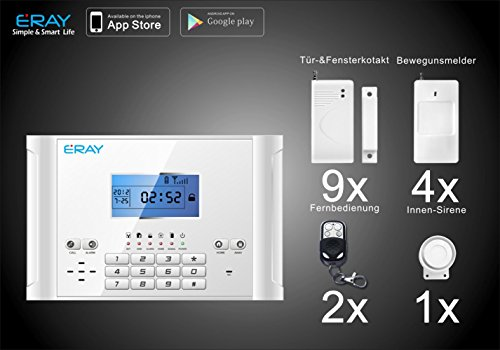 Eray GSM Funk Alarmanlage Set-B M2C (Bestseller, LCD Display, Alarm SMS Anruf, Deutsche Anleitung)