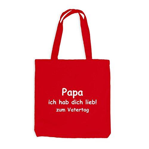 Jutebeutel - Papa - Ich habe dich lieb zum Vatertag - Dads day Rot