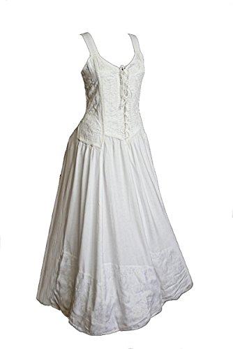 Dark Dreams Kleid Mittelalter Gothic Schnürung Audry schwarz rot grün braun weiß 36 38 40 42 44 46, Farbe:Weiss, Größe:S/M Gothic Kleid Kleider