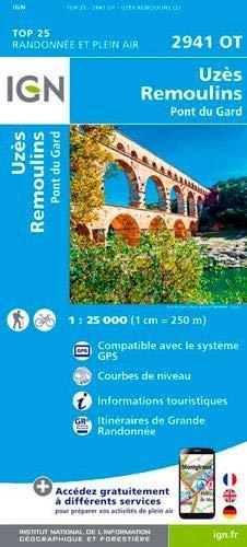 Uzès, Remoulins, Pont du Gard : 1/25 000