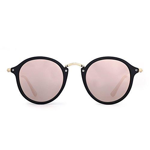 JIM HALO Retro Polarisiert Runden Sonnenbrille Klein Spiegel Getönt Kreis Linse Damen Herren(Matt-schwarz/Polarisierter Spiegel Rosa)