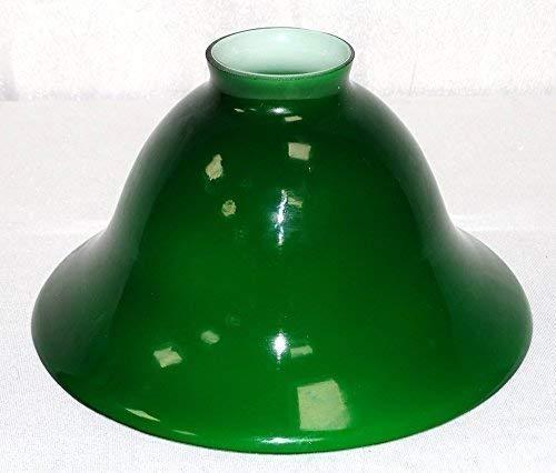 Konisch geschweifter Lampenschirm, Antiker Glasschirm, Grün-Weiß, 20 cm