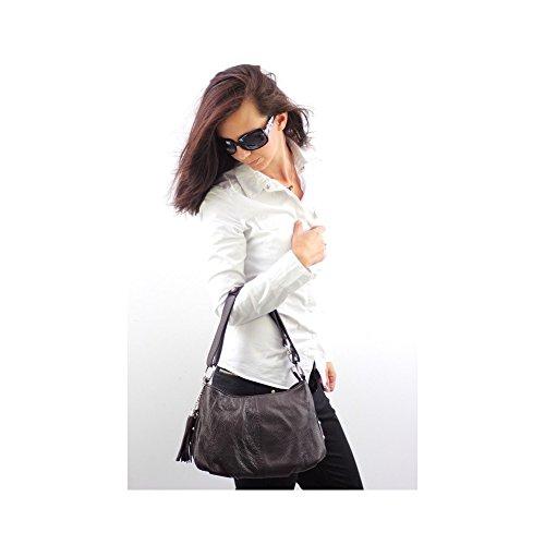 Borsa a mano in vera pelle bianca N1380, collezione primavera-estate, colore: bianco marrone