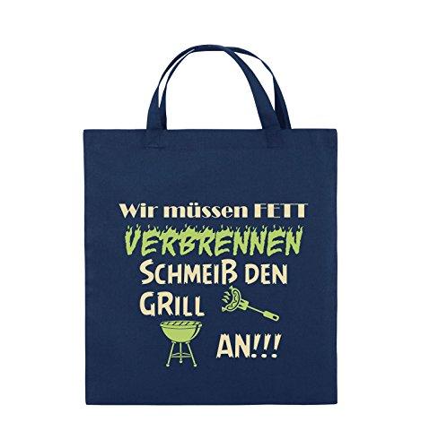 Comedy Bags - Wir müssen Fett verbrennen schmeiß den Grill an!!! - Jutebeutel - kurze Henkel - 38x42cm - Farbe: Schwarz / Weiss-Neongrün Navy / Beige-Hellgrün