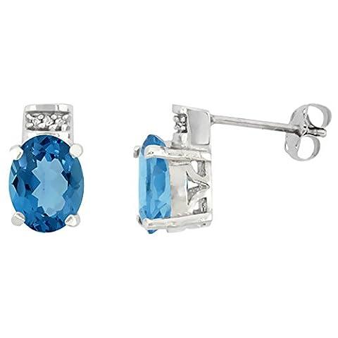 9ct White Gold Diamond Natural London Blue Topaz Earrings Oval