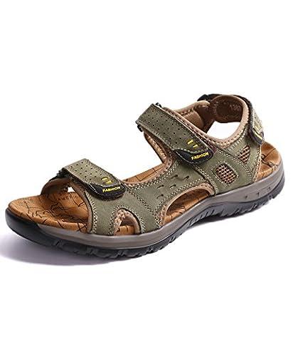 Motorun Hommes Sandales de Chaussures Sandales de Randonnée de Trekking en Cuir Hommes Sport Baotou et Chaussures de Plein Air(Vert