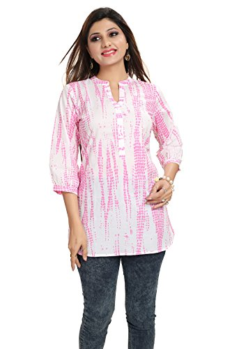 Dragaon- White and Pink Cotton Shibori Print Women Short Kurta(MM-81_L.PINK_46)
