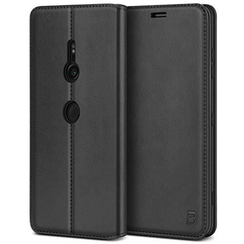 BEZ® Handyhülle für Xperia XZ3Hülle, Tasche Kompatibel für Sony Xperia XZ3, Schutzhüllen aus Klappetui mit Kreditkartenhaltern, Ständer, Magnetverschluss, Schwarz