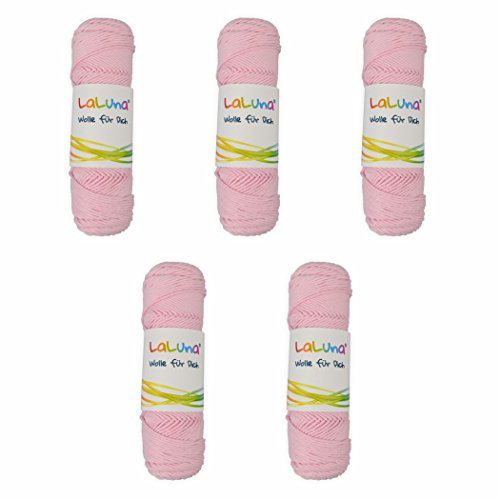 5er Pack Wolle uni Serie -Florida- rose 100 % BW 250g, Häkelgarn Schulgarn Topflappengarn Marke: LaLuna® (250g Serie)