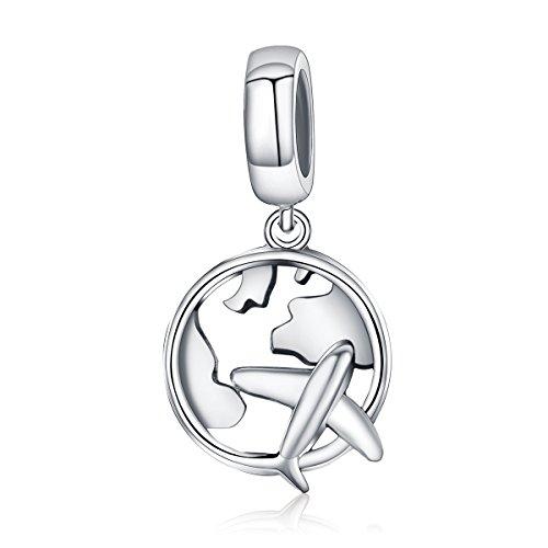 Argento sterling 925 traveling dream mappa & aereo charm pendente perline per bracciali charm perfetto gioielli per donne e ragazze