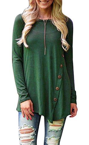 Bigood Pull Col Rond Femme Coton T-shirt Blouse Chemise Manche Longue Haut Top Sweat-shirt Vert