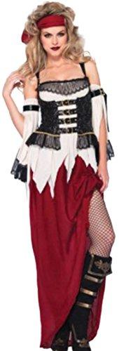 Faschingsfete Damen Piratenbraut Kostüm Kleid puls Kopftuch, S, Schwarz Weiß