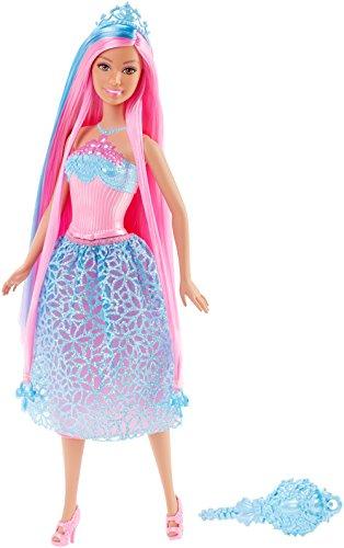 Mattel Barbie DKB61 - Modepuppen, 4 Königreiche, Zauberhaar Prinzessin, blau