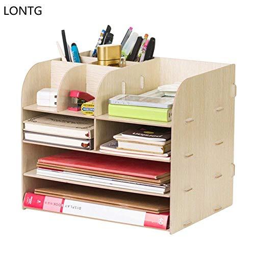 Organizador de escritorio de madera 4 compartimentos, estante con cajones. para guardar libros, periódicos, revistas, bolígrafos, lápices y hojas de papel A4. , color beige