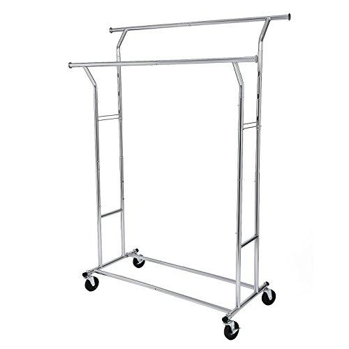 SONGMICS Schwerlast Metall Kleiderständer bis 110 kg belastbar auf Rädern, Länge: 129-169 cm, Chrom HSR12S