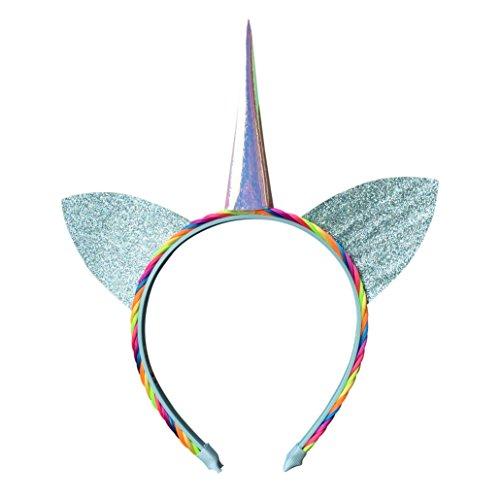 TRENDWERT Einhorn-Kostüm-Haarreif-Karneval & Fasching & Halloween & Junggesellinenabschied Krone mit Regenbogenhaar für Damen, Herren und Kinder