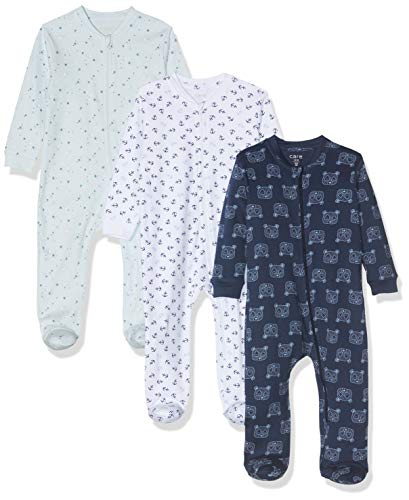 Care Baby Strampler mit Zip im 3er Pack, Blau (Lightblue 700), 86
