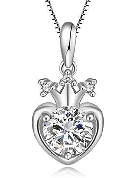 Timoo Damen 925 Sterling Silber Halskette Anhänger Krone Herz Liebe Schmuck Ketten 45CM