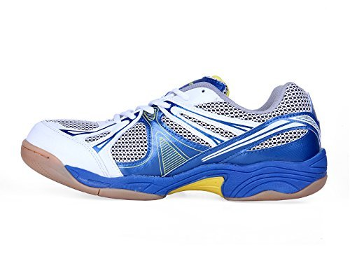Nivia Krait Badminton Shoe, Men's 9 UK (White/Blue/Silver)