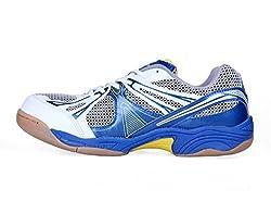 Nivia Mens Mesh PVC White, Blue and Silver Badminton Shoes -6 UK