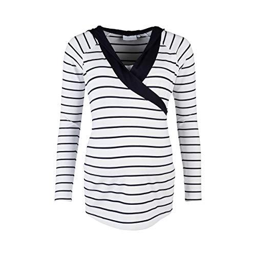 2HEARTS Stillshirt Langarm Wellness Marine - tailliertes Langarmshirt im Wickel-Look mit Kapuze & Stilleinsatz - T-Shirt für die Stillzeit -