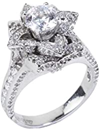 Dilan Jewels LOVE Collection Elegant 925 Sterling Silver Floral Solitaire Engagement Ring For Women - B077HMV899