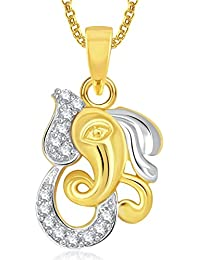Ganpati God Pendant With Chain Lockets For Men And Women Gold Plated In American Diamond Cz GP316